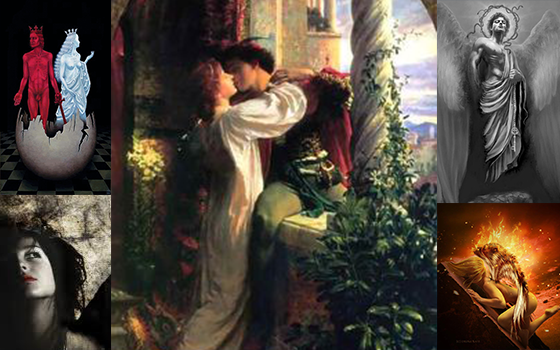 Picture of medieval young couple kissing