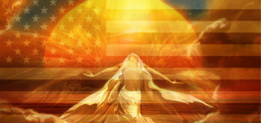 Woman before the sun and an American flag
