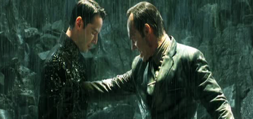 Agent Smith punching Neo in The Matrix