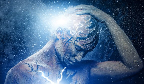 Man thinking with glowing head