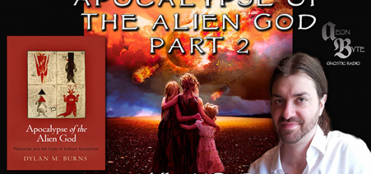 Picture of scholar Dylan Burns and his book Apocalypse of the Alien God, with Part 2 on it