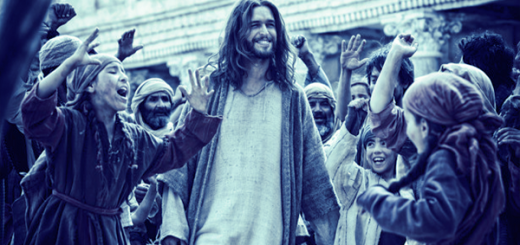 Jesus laughing as he's surrounded by adoring crowds