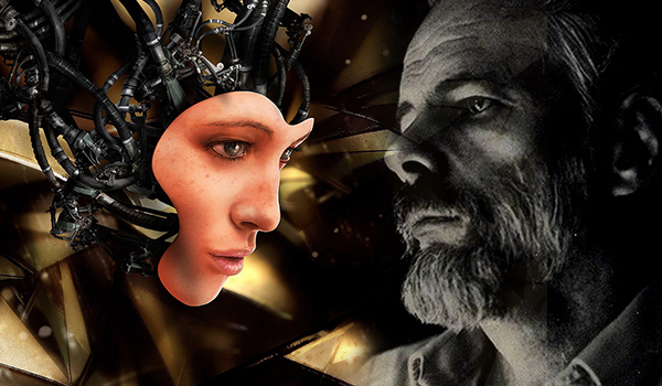 Picture of Philip K Dick facing a female android