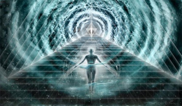 Angelic figure standing before a portal of light and before a pyramid