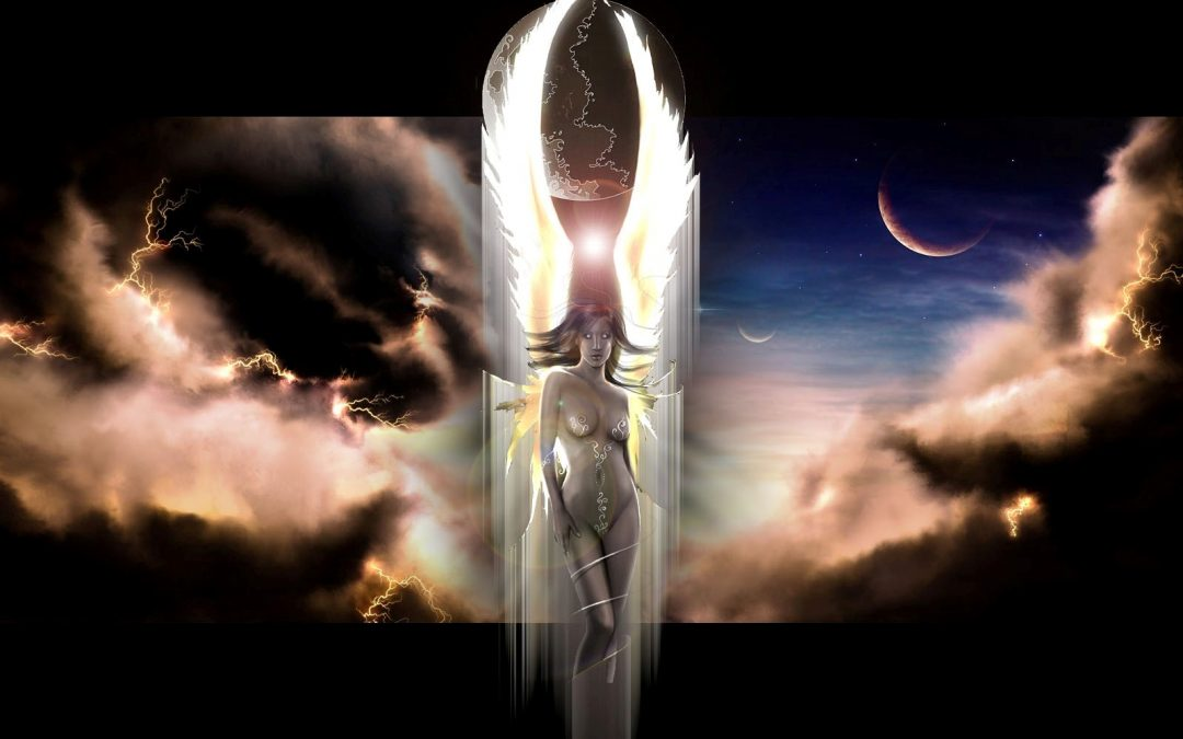 Female archon with wings standing before a celestial backdrop